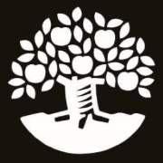 Natur och Kultur Logotyp Svart bakgrund, vitt träd